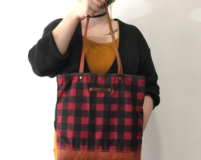 Mary Jane style buffalo plaid (red and black) waxed canvas and leather tote