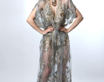Sheer Pearl Embriodered 1920's Deco Style Gown