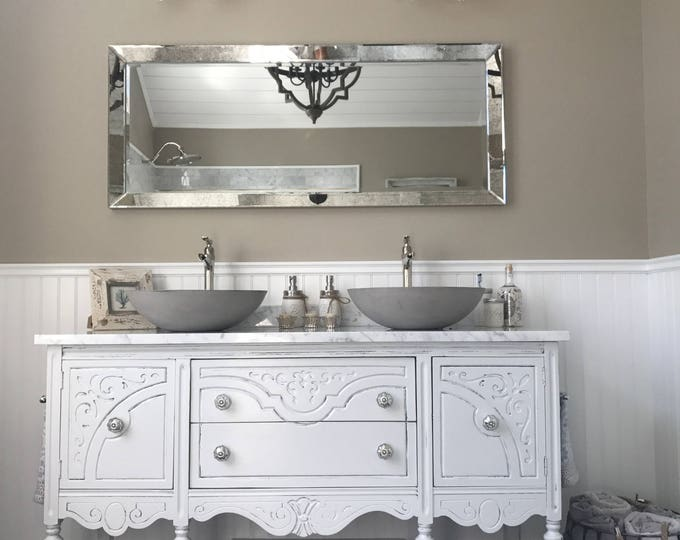 "BATHROOM VANITY Double or Single We Custom Convert from Antique Furniture For You - Victorian Farmhouse Renovation 50"" to 62"" Wide Long"
