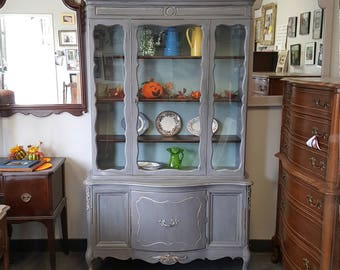 PICK UP ONLY Vintage Shabby Chic French Provincial Hutch, Pantry, China Cabinet,Kitchen Storage, breakfront, french country, france, cottage