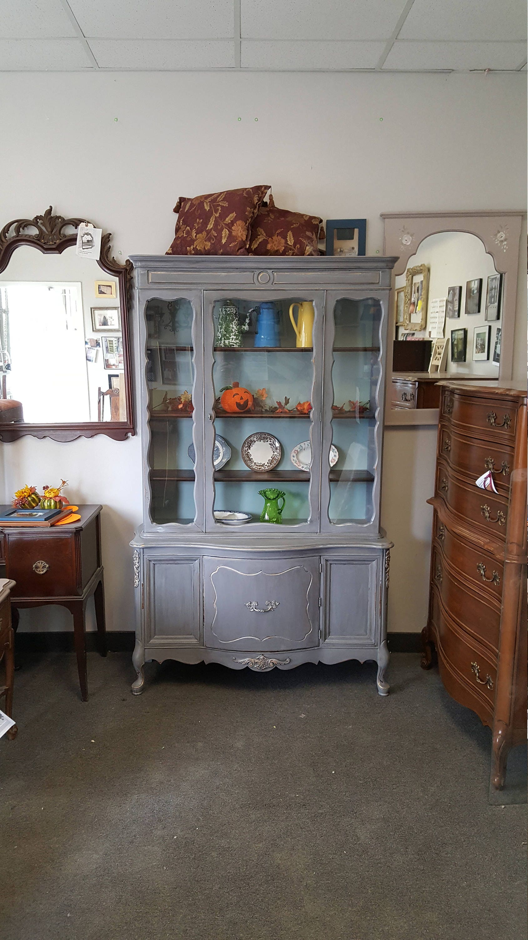 French country china cabinets - Vintage Shabby Chic French Provincial Hutch Pantry China Cabinet Pick Up Only Kitchen Storage Breakfront French Country France Cottage