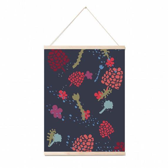 Botanical Scandinavian pattern A3 wall art Print . Poster .Illustration. wall decor.gift