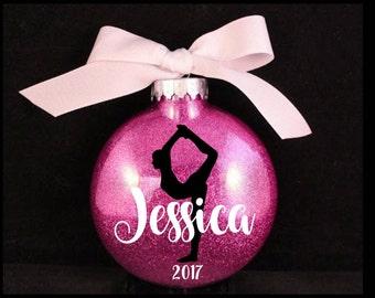 Gymnast Christmas Ornament with Year, Gymnastics Ornament