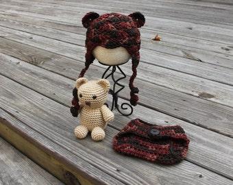 Teddy Bear Set, Baby Bear Hat, Teddy Bear Photo Prop, Bear Beanie, Crochet Teddy Bear, Newborn Bear Prop, Baby Bear Photo Prop, MrsVsCrochet