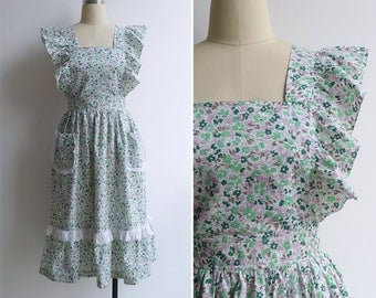 Vintage 70's Shabby Chic Green Floral Ruffled Pinafore Dress XS or S