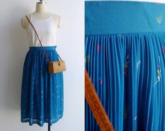 Vintage 80's 'Party Confetti' Teal Blue Plissé Pleat Skirt XXS or XS