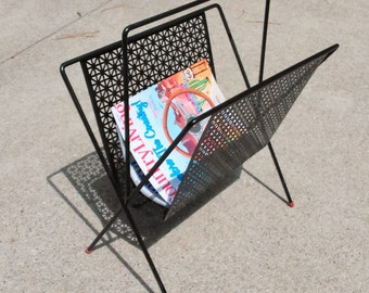 Mid Century Magazine Rack - Black Metal Magazine Rack Holder - Newspaper Holder