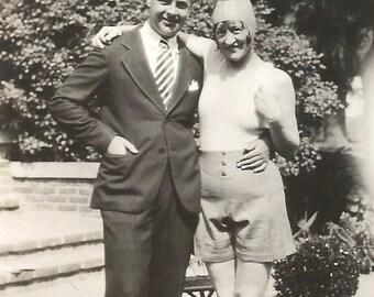 "Vintage Snapshot ""Crazy Next Door Neighbor"" Coy Flirty Woman Weird Outfit Found Vernacular Photo"