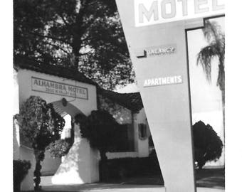 "Vintage Snapshot ""Alhambra Hotel"" Los Angeles California Mid-Century Neon Sign Architecture Found Vernacular Photo"