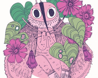 Pink Moth and her Collection A5 PRINT bug beetle moth love flowers leaves