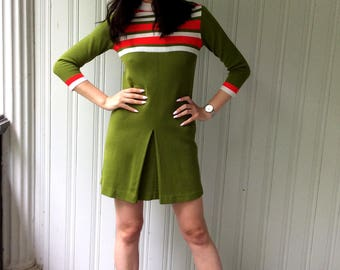 Vintage Green Dress Scooter style Mod Acrylic Red and White Striped 60s Jumper Tunic Made in Italy