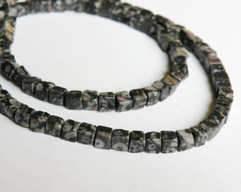 Natural Fossil Agate gemstone handcut cube beads 4mm full strand KTBF121