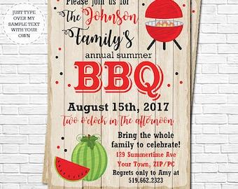Family Barbecue Invitation - BBQ Invitation - Summer BBQ Invitation - Family Picnic - Instantly Download & Personalize in Adobe Reader