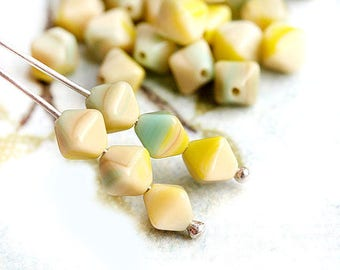 6mm Bicone beads, Green and Beige mixed color Czech Glass beads, light neutral pressed beads - 30Pc - 2755