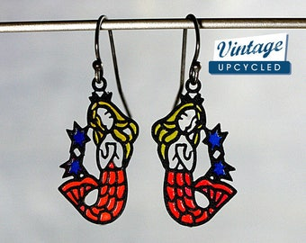 Mermaid earrings. Genuine vintage colorful mermaids on sterling ox hooks. Nautical summer earrings. Beach jewelry.
