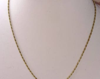 Vintage Necklace Krementz Gold Rope Chain Link Necklace