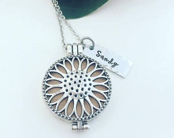 Personalized Sunflower Diffuser Necklace - Hand Stamped Aromatherapy Necklace - Essential Oil Diffuser Locket - Essential Oil Diffuser