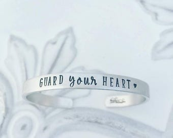 Guard Your Heart Cuff Bracelet - Hand Stamped Cuff Bracelet - Christian Bracelet - Mom Bracelet - Mom Jewelry - Gift for Mom - Inspirational