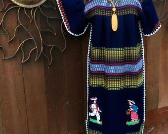 Vintage 1970's Ethnic Dress, Vintage Colombiana Dress, Bohemian Dress, Ethnic Embroidered Dress
