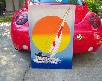 Vintage 1970s Retro Groovy Sailboat Sunset Orange Ocean Textile Wall Art Screenprint
