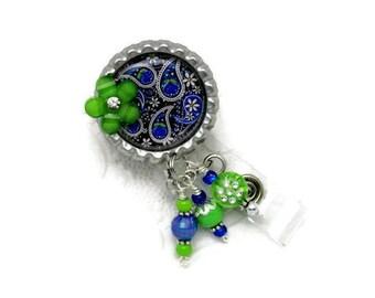 Paisley Badge Reel - Royal Blue & Green Badge Reel - Designer Badge Reel - Beaded Badge Reel - Badge Reel Jewelry - Badge Reel Gifts - ID
