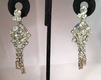 Vintage Antique Art Deco Rhinestone Earrings Long Drop Earrings Crystal Baguette