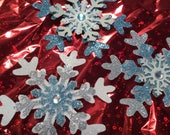 """Snowflakes, 3"""", Set of 3 ~ Glittered, Layered Snowflakes in Light Blue, Gray, Silver & White, Bejeweled Triple Snowflakes, Baby Shower"""