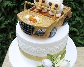 Wedding custom owl cake topper, car wedding cake topper, bride and groom in a car, glitter car cake topper, love bird cake topper, car model