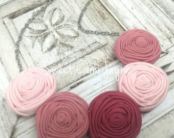 Rose Ombré Necklace Rosette Necklace Handmade Necklace Bib Necklace Statement Necklace Textile Jewelry Unique Necklace Bridesmaid Necklace