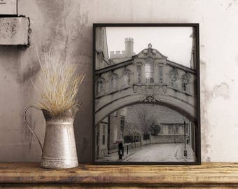 Oxford Art Print | Bridge of Sighs Canvas | Rainy Day in England Metal Print | Graduation Gift Photo on Wood | Ready to Hang | FREE SHIPPING
