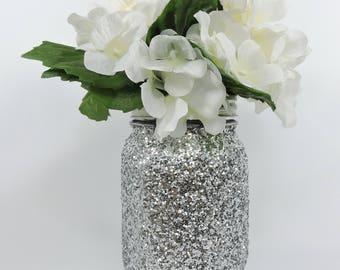 Silver Glitter Mason Jar for Wedding Decor, Baby Shower Decor, Graduation Party Decor, Birthday Party Decor