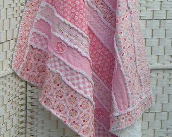 Pink cot quilt, throw, rag quilt, baby girl, blanket, lap quilt. All cotton. Snuggly soft. Cupcakes, daisies, gingham. Ready to ship.