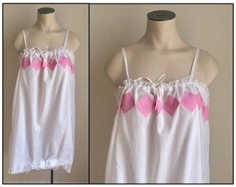 Vintage 1920s Misses' White Cotton Teddy Chemise 10 12 14 16