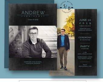 Senior Guy Graduation Card, Photoshop Template, Photo Graduation Announcement, Photography Template  Andrew, SG830