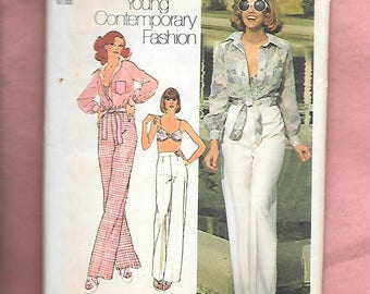 Vintage 70's Simplicity 6406 Misses' Tie Up Blouse With Button Front, Bikini Bra To Show Off, And At The Waist Straight Leg Pant, Size 14