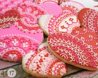 Valentine's Day Heart Lace Sugar Cookies (Set of Six)
