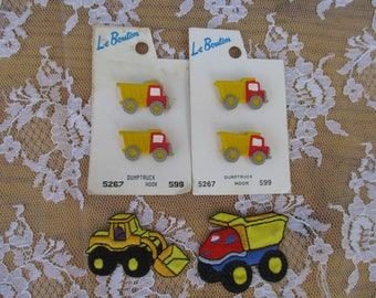 Dump Truck Buttons and 2 Applique Patches iron On Dump Truck and Tractor Adorable Kids Clothes, Crafting, Scrapbooking, Cardmaking, Sewing