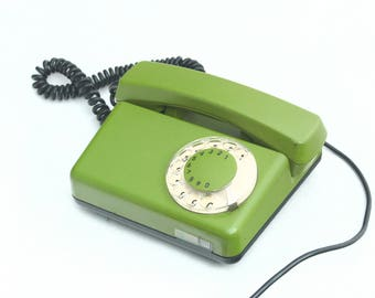 Vintage Green Rotary Telephone 80s, Green Dial Desk phone Tulipan RWT, Home and Office Decor