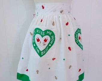 50's Heart Bee Rose Apron Novelty Print Don't Kiss Me Now I'm Busy Pocket Half Apron Cotton