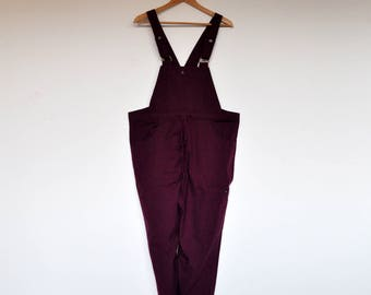 Vintage Plum Purple Bio Cotton Cropped Overalls Onesie