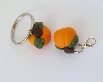 Pumpkin charm, miniature pumpkin, pendant supply, miniature food, handmade, DIY Crafts, pumpkin jewelry, 1 piece