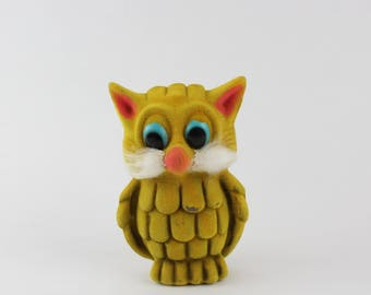 Vintage Flocked Owl Bank - Bright Yellow Fuzzy Owl Figurine - Owl Collectible