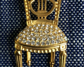Classic Karl Lagerfeld Big Vintage Jeweled Bergere Chair Pin - Brooch - 1980s