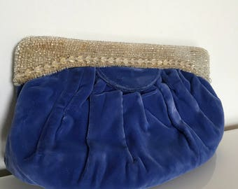 Vintage Exquisite Periwinkle Blue Velvet Clutch Purse with Crystal Beaded Frame (vegan friendly)