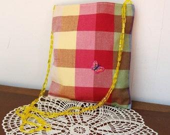 Fun Plaid POCKET PURSE Bag Passport Boho Butterfly Applique Yellow Bead straps Cross body Hipster