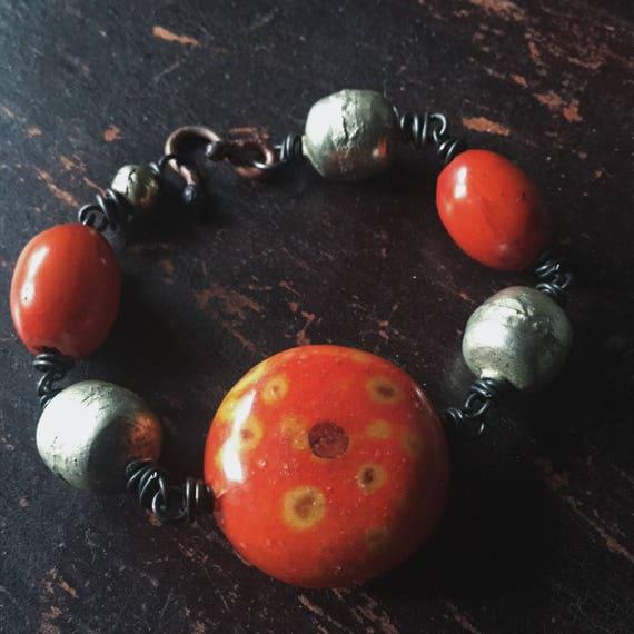 African bead bracelet | large silver beads, African silver beads, amber resin beads, orange beads, ethnic tribal, boho gypsy, boho bracelet