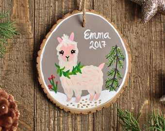 Personalized Name Ornament, Ornaments with Kids Name, Alpaca Ornament, for baby, girl christmas gift ideas, Llama Ornament, Unique Ornaments