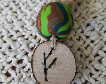 Fehu Rune Necklace, Money Necklace, hemp necklace, wood and clay
