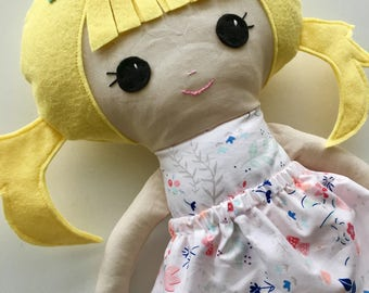 "Ready To Ship Handmade Doll - 18"" Handmade Girl Doll - Girl Doll - Blonde Doll with Pigtails - Birthday Gift"
