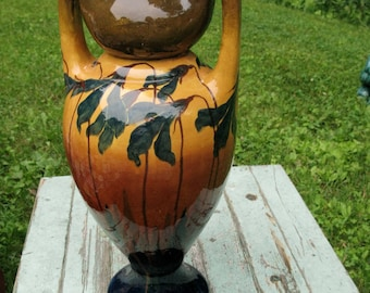 Sublime Tall Art Nouveau Floral Painted Bohemian Vase